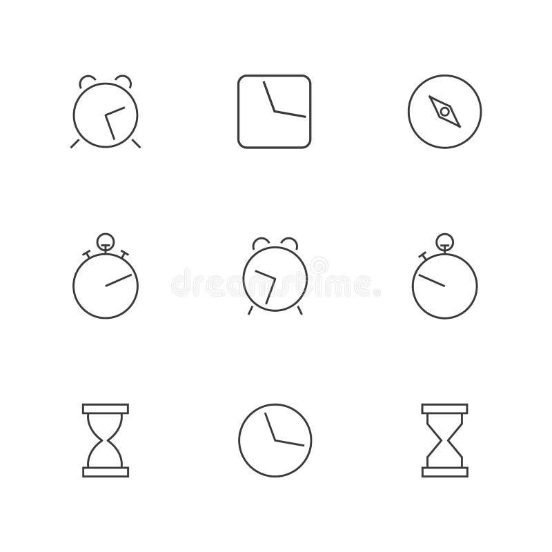 Pictogrammenklok van dunne lijnen, vectorillustratie royalty-vrije illustratie