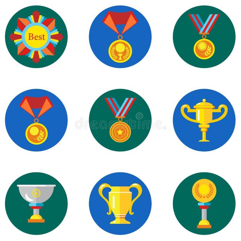 Pictogrammenkoppen, toekenning, medailles in de vlakke stijl Vectorbeeld op een ronde gekleurde achtergrond Element van ontwerp,  royalty-vrije illustratie