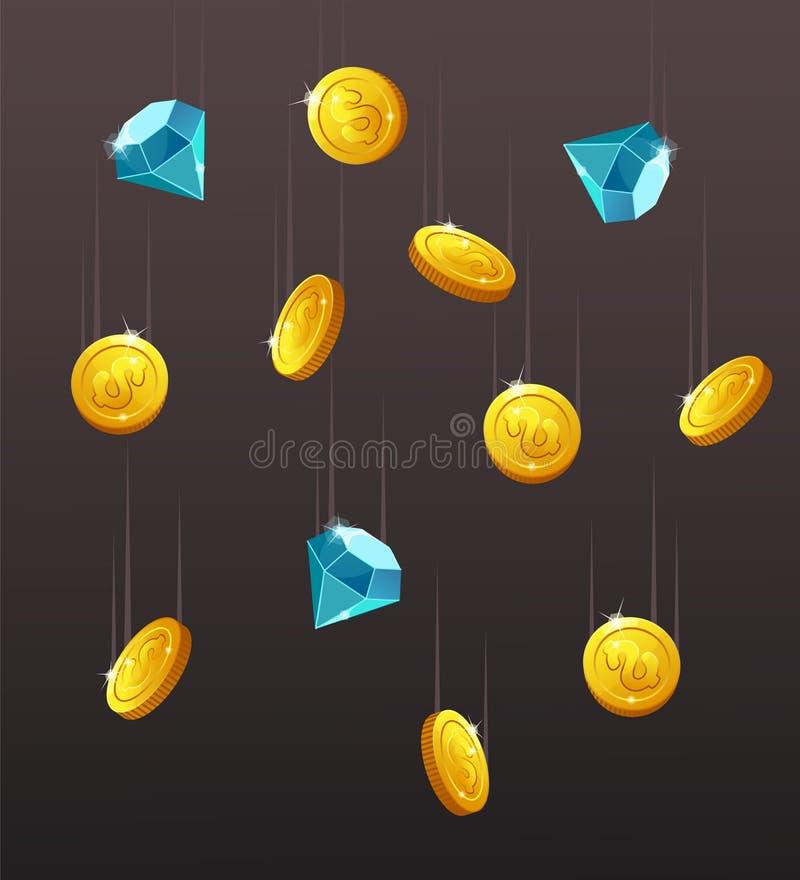 Pictogrammenmuntstukken, blauwe kristallen, halfedelstenen, gemmen, diamanten vector illustratie