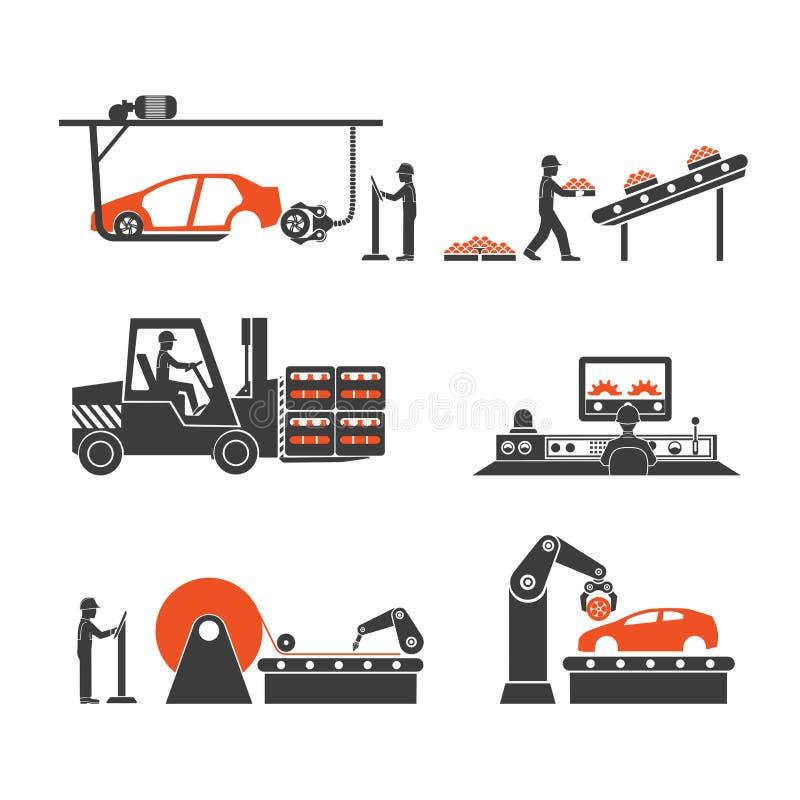 Pictogrammenproductielijnen van de transportband stock illustratie