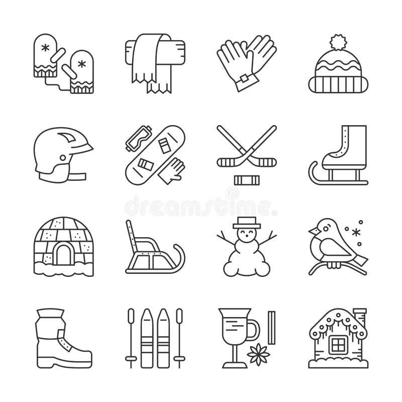 Pictogrammenreeks van de wintersport, openluchtactiviteit royalty-vrije illustratie