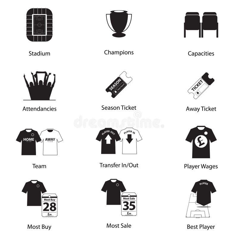 Pictogrammenreeks van voetbal of voetbal in vlak ontwerp voor infographic voetbal Vector stock illustratie