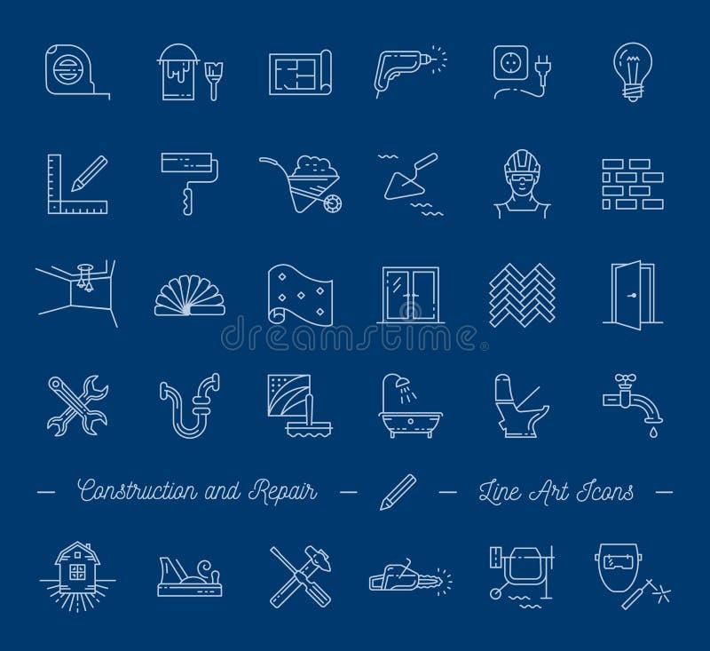 Pictogrammenreparatie, de bouw, bouwsymbolen Het huisverbetering, loodgieterswerk, reparatiehulpmiddelen Vector dunne lijnpictogr royalty-vrije illustratie