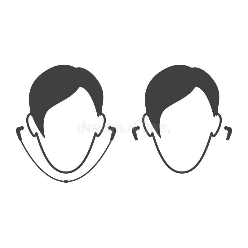 Pictogrammensen die hoofdtelefoons dragen Getelegrafeerde en draadloze hoofdtelefoon royalty-vrije illustratie