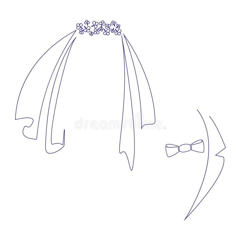 Pictogrammentekens van de bruid en de bruidegom Gestileerde grafische illustratie voor huwelijksontwerp Ge stock illustratie