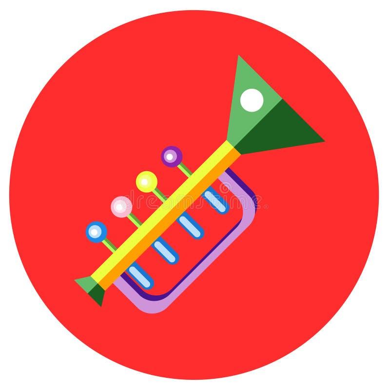 Pictogrammentrompet van speelgoed in de vlakke stijl Vectorbeeld op een ronde gekleurde achtergrond Element van ontwerp, interfac royalty-vrije stock afbeelding