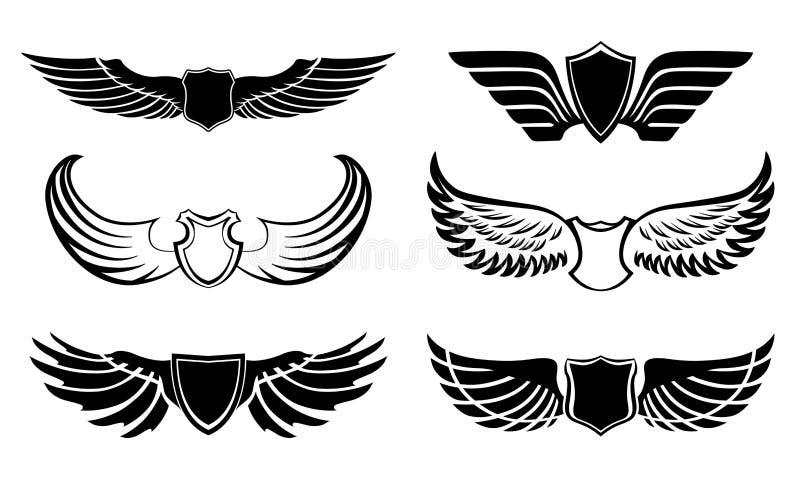 Pictogrammes abstraits d'ailes de plume réglés illustration de vecteur
