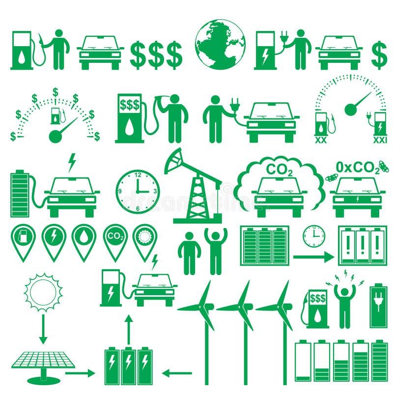 Pictogrammes de bâton de voitures électriques de vecteur réglés Éléments et chiffres d'infographics d'écologie et d'environnement illustration libre de droits