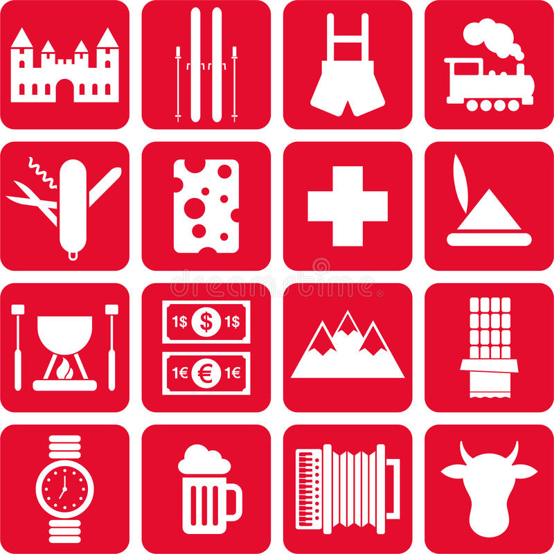 Pictogrammes de la Suisse illustration libre de droits
