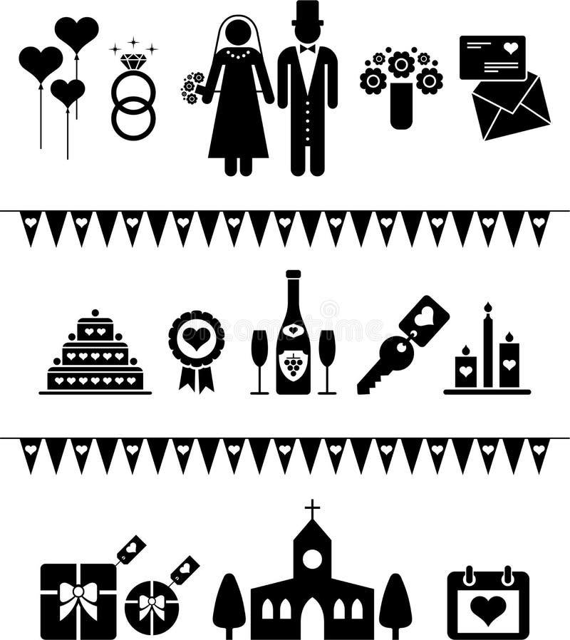 Pictogrammes de mariage illustration stock