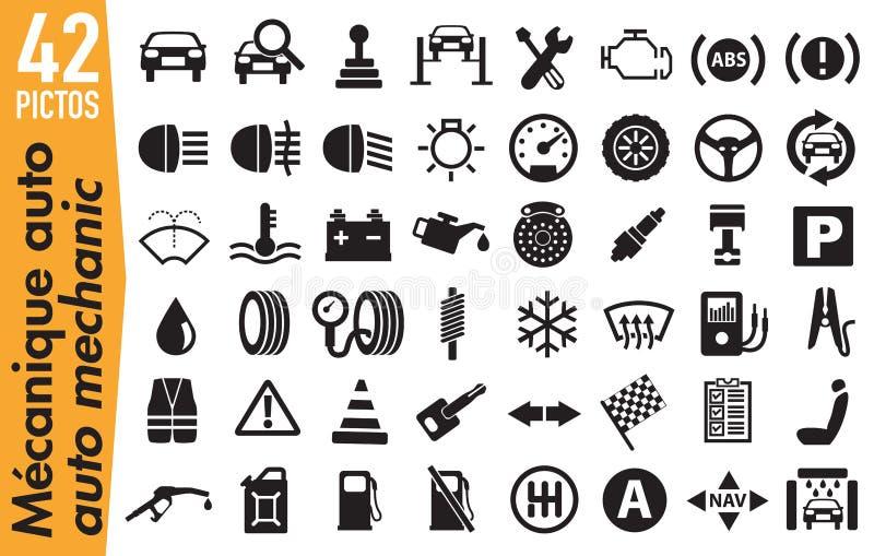 42 pictogrammes de signage sur la mécanique d'automobile illustration stock