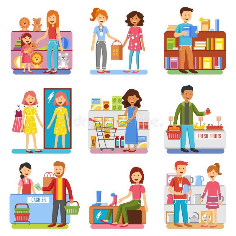 Pictogrammes plats de concept d'achats de famille illustration libre de droits