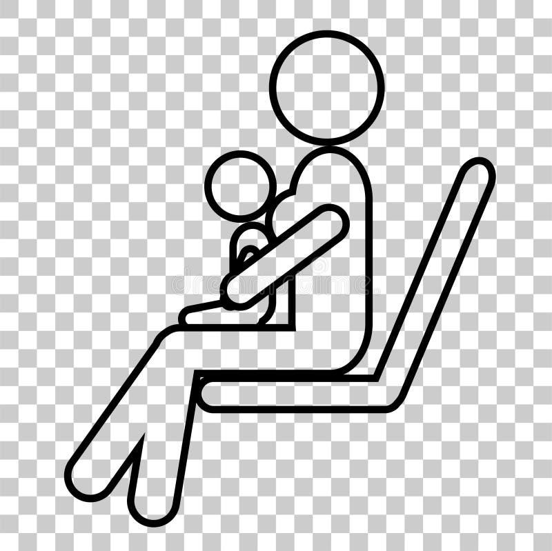 Pictogrammoeder en Baby, Teken voor Baby arts Specialist bij het Ziekenhuis of Kliniek stock illustratie
