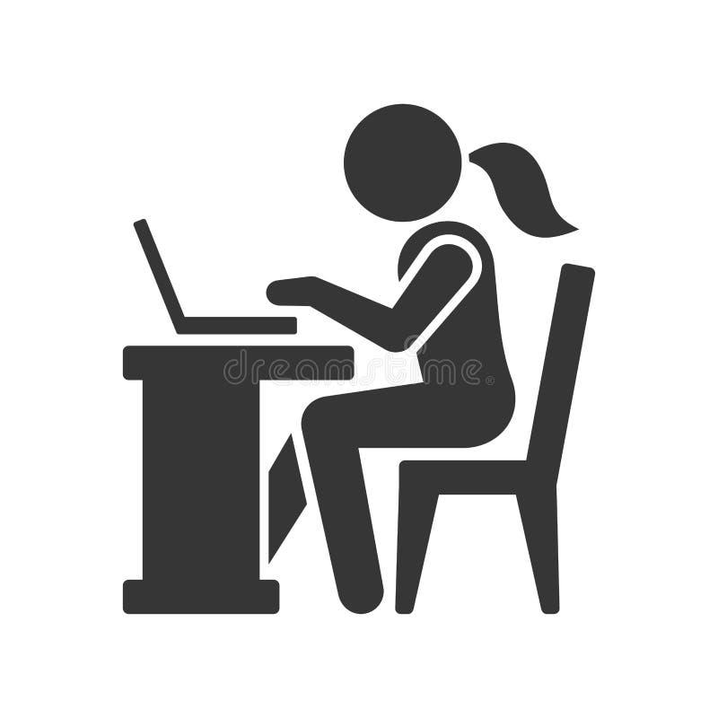 Pictogramonderneemster Working op Computer Vector vector illustratie