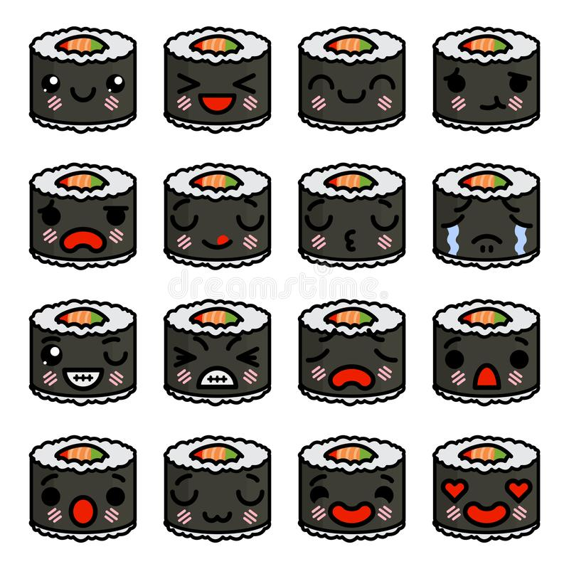 Pictogramreeks emojisushi - broodjes met verschillende emoties Vectorillustratie royalty-vrije illustratie