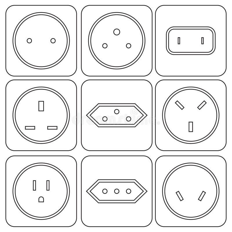 Pictogramreeks internationale elektrische contactdozen vector illustratie