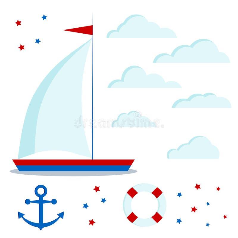 Pictogramreeks van blauwe en rode zeilboot met één zeil, wolken, sterren, anker, reddingsboei royalty-vrije illustratie
