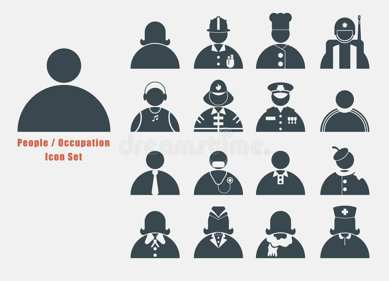 Pictogramreeks van Mensen en beroep in eenvoudige zwart-witte grafisch royalty-vrije illustratie