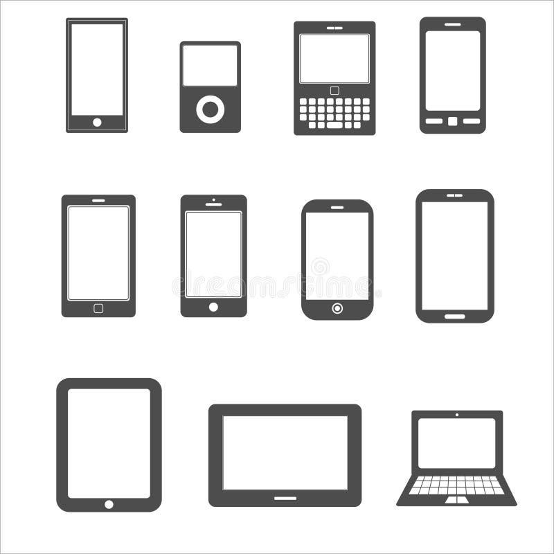 Pictogramreeks van mobiel, tabletapparaat voor mededeling vector illustratie