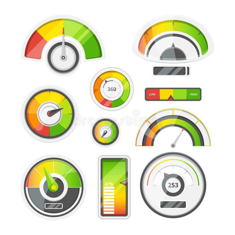 Pictogramreeks van niveaumeters, tachometer en batterijniveau Vector geplaatste beelden vector illustratie