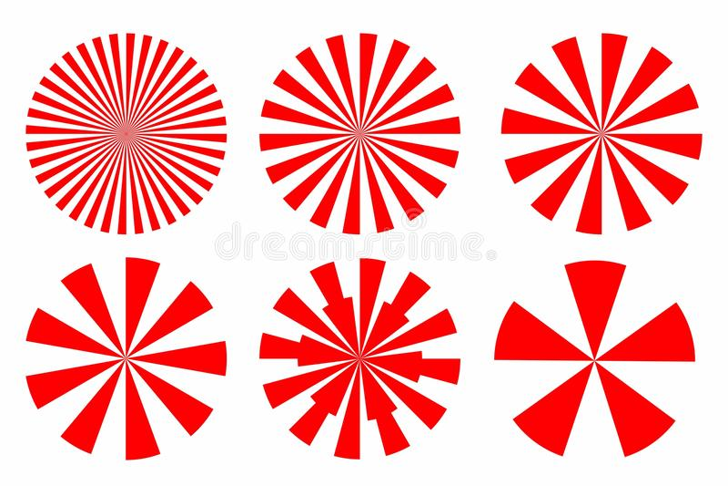 Pictogramreeks van Rode zonnestraal Abstracte cirkel geometrische vorm met stock illustratie