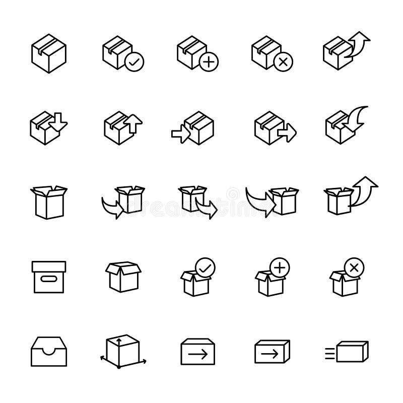 Pictogramreeks van verpakking en het verschepen vector illustratie