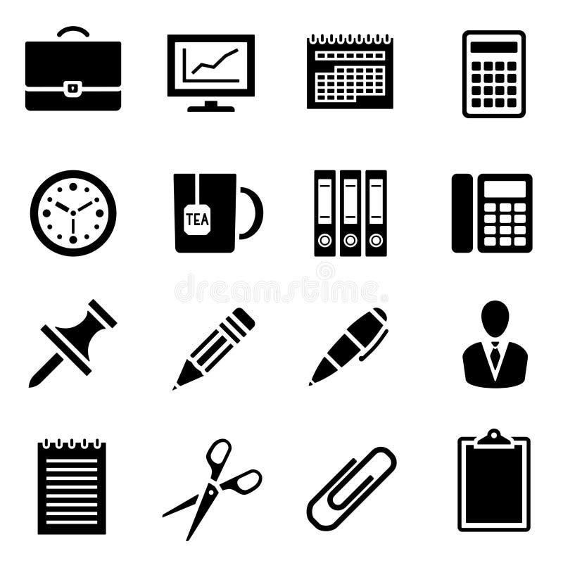 Pictogramreeks van zwart eenvoudig silhouet van bureaulevering in vlak ontwerp stock illustratie
