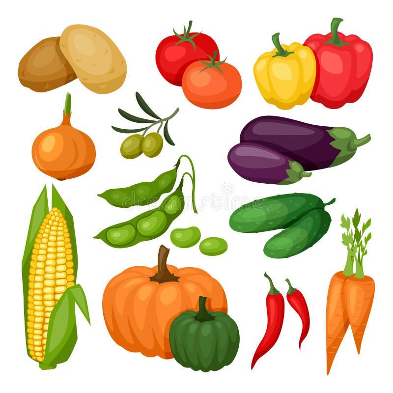 Pictogramreeks verse rijpe gestileerde groenten stock illustratie