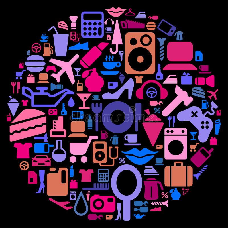 Download Pictograms stock vector. Image of luggage, drop, hairbrush - 18414367