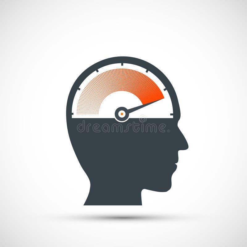 Pictogramsnelheidsmeter met pijl en schaal in menselijk hoofd Embleem van zenuwachtige spanning en moeheid stock illustratie