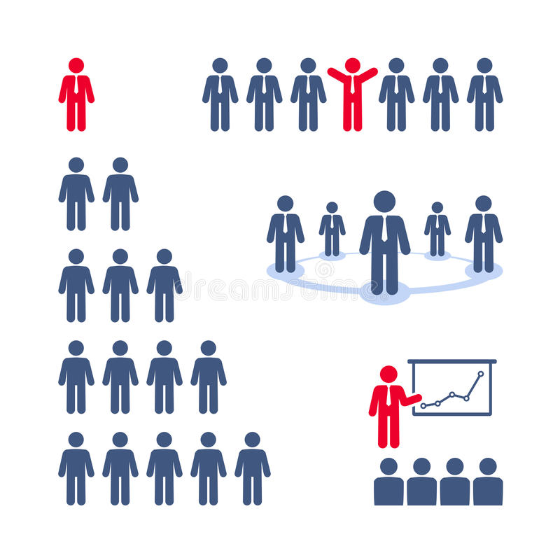 Pictogramsuppsättning. Lag presentation, affärsträd  vektor illustrationer