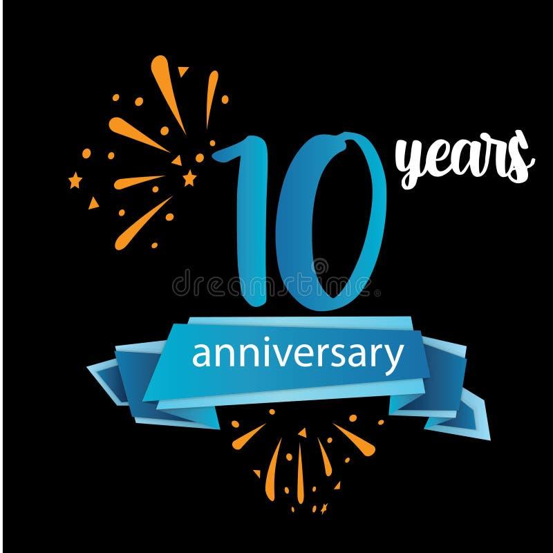 pictogramsymbol för 10 årsdag, år födelsedaglogoetikett ocks? vektor f?r coreldrawillustration o vektor illustrationer