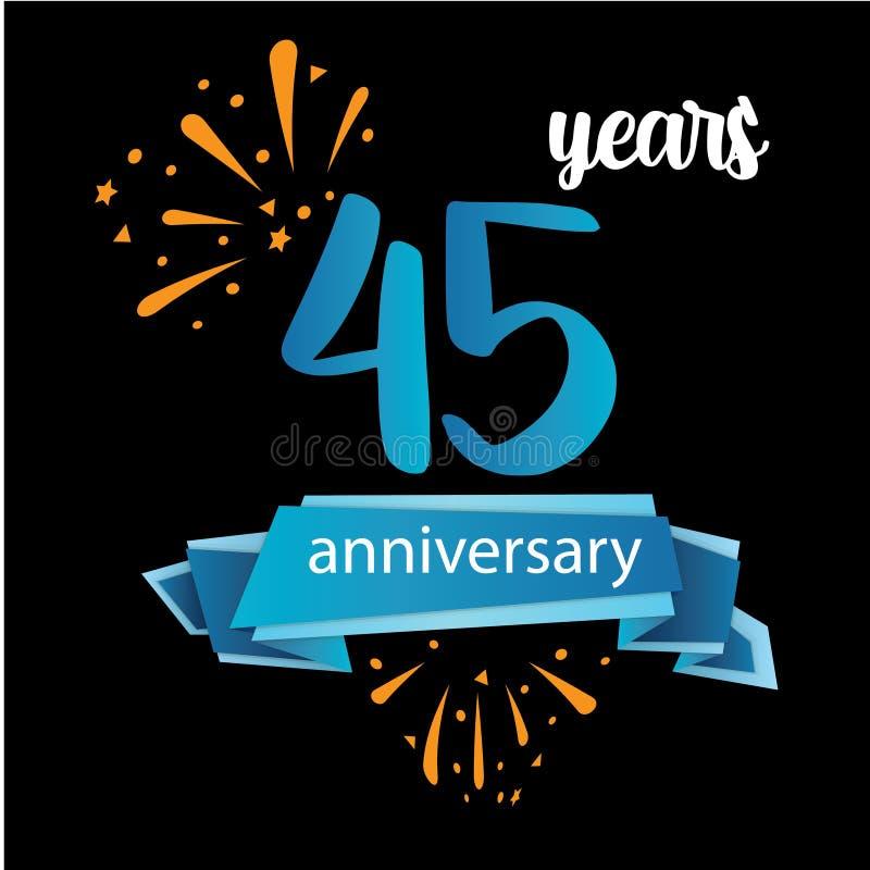 pictogramsymbol för 45 årsdag, år födelsedaglogoetikett ocks? vektor f?r coreldrawillustration o royaltyfri illustrationer