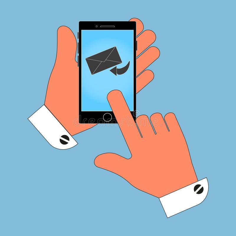 Pictogramtelefoon in zijn hand op het envelopscherm, een bericht, isolatie op een blauwe achtergrond stock illustratie