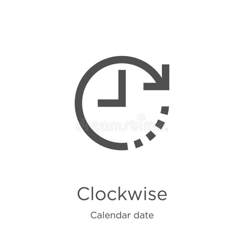 pictogramvector met de wijzers van de klok mee van de inzameling van de kalenderdatum Dunne het pictogram vectorillustratie met d royalty-vrije illustratie