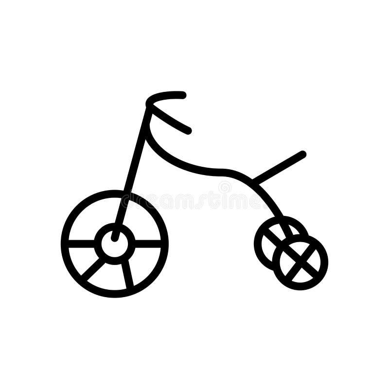 Pictogramvector met drie wielen die op witte achtergrond, teken Met drie wielen wordt geïsoleerd royalty-vrije illustratie