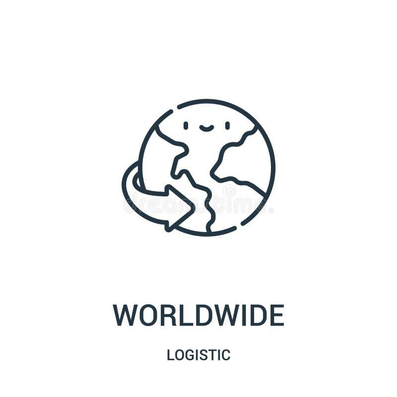 pictogramvector wereldwijd van logistische inzameling Dunne het pictogram vectorillustratie wereldwijd van het lijnoverzicht vector illustratie