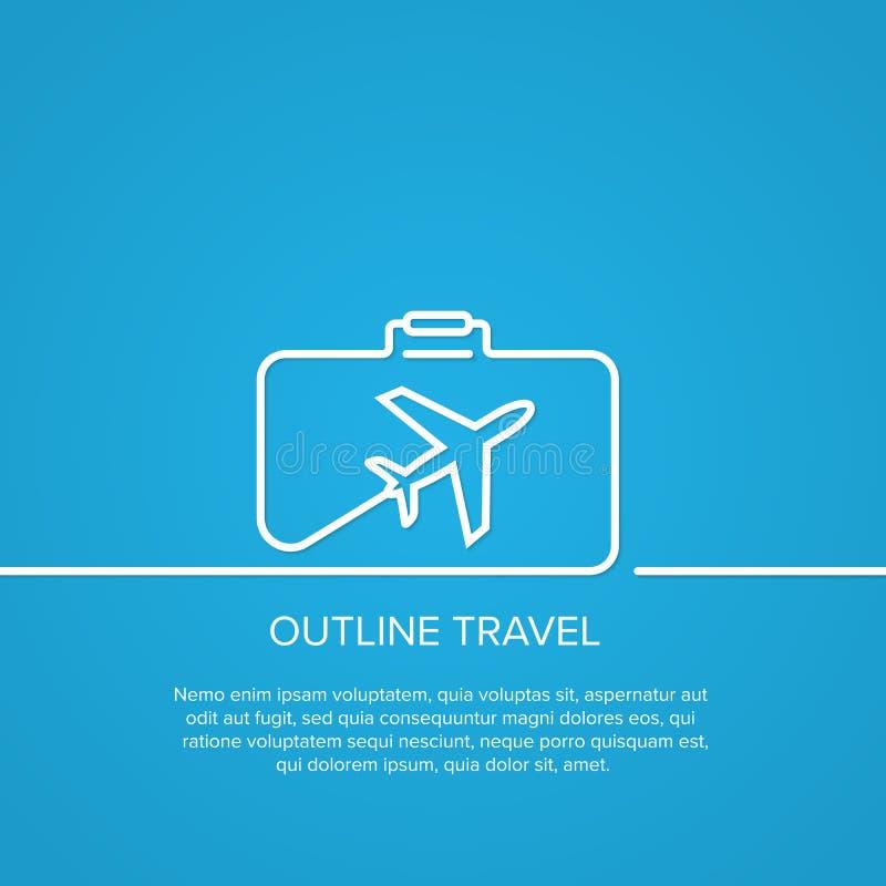 Pictogramvliegtuig en koffer royalty-vrije illustratie