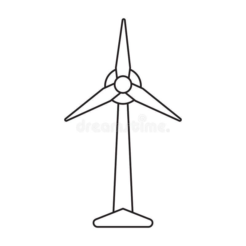 Pictograph för generator för elektricitet för ekologivindturbin royaltyfri illustrationer