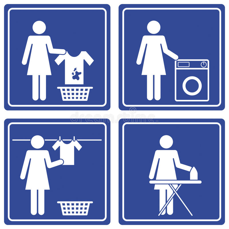 Pictograph - Laundry. Set of 4 pictographs of a woman doing the laundry. This pictograph is part of a series vector illustration