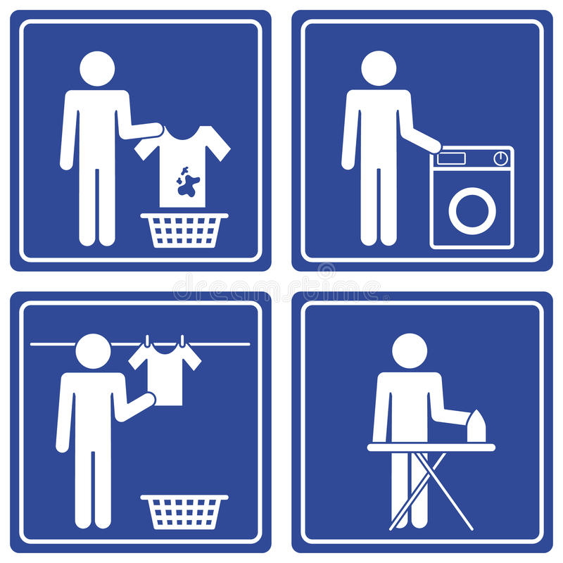 Pictograph - Laundry, male. Set of 4 pictographs of a man doing the laundry. This pictograph is part of a series vector illustration