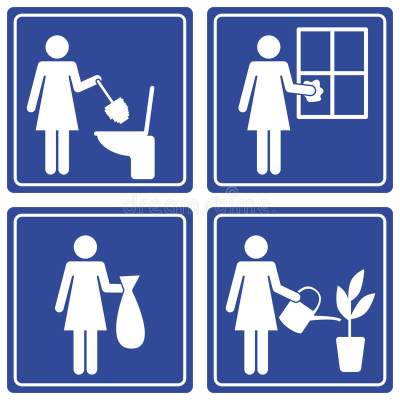 Pictograph - various chores. Set of 4 pictographs of a woman doing various chores. This pictograph is part of a series royalty free illustration