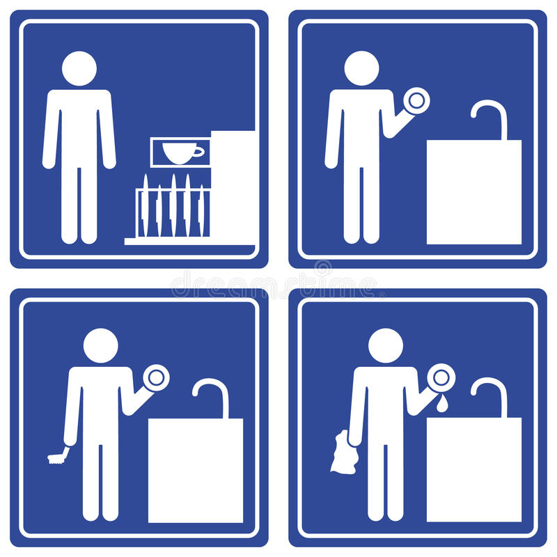 Download Pictograph - Washing Dishes, Male Stock Vector - Illustration of clipart, dishes: 13918459