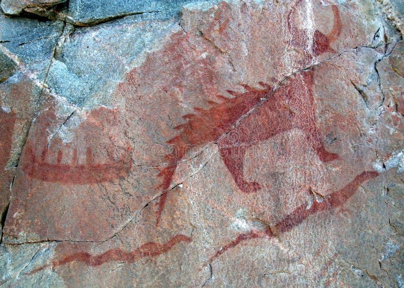 Pictographes d'Agawa - canoë et serpents images libres de droits