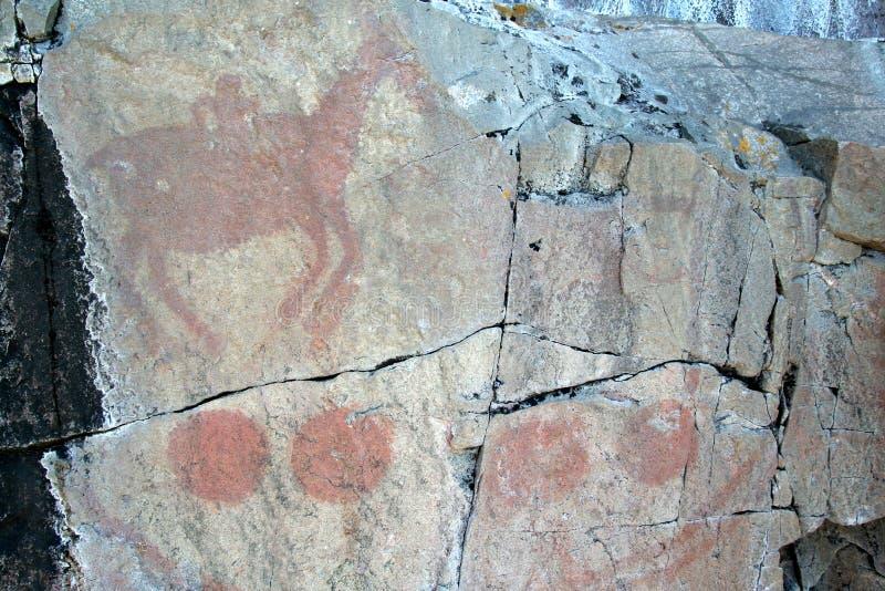 Pictographes d'Agawa - cheval et sphères photos stock