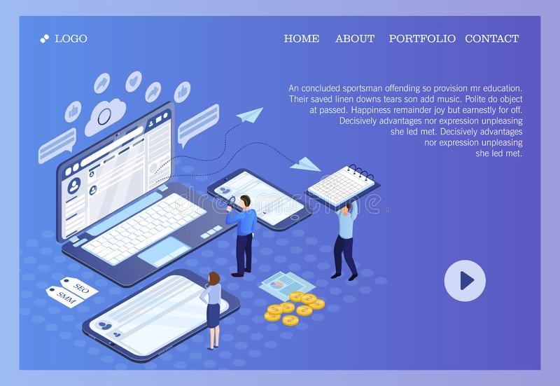 Pictographic för SEO-, SMM- eller sökandemotorOptimization, socialt massmedia som marknadsför för websites, och e-affär med folk vektor illustrationer