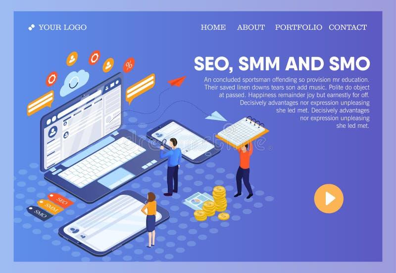 Pictographic för SEO-, SMM-, SMO- eller sökandemotorOptimization, socialt massmedia som marknadsför, och social massmediaOptimiza stock illustrationer