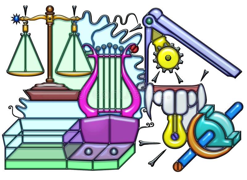 Pictographic samenstelling van het slingerende zelfstandige naamwoord vector illustratie