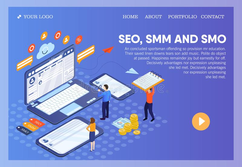 Pictographic for SEO, SMM, SMO or Search Engine Optimization, Social Media Marketing and Social Media Optimization for stock illustration