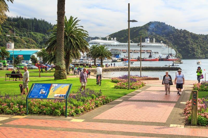 Picton, Новая Зеландия Парк на foreshore стоковое изображение